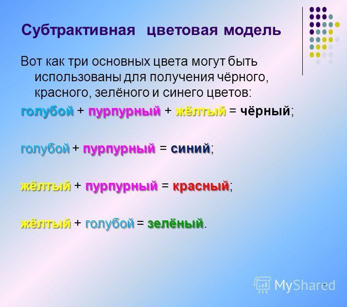 Вот как три основных цвета могут быть использованы для получения чёрного, красного, зелёного и синего цветов: голубойпурпурныйжёлтый голубой + пурпурный + жёлтый = чёрный; голубойпурпурныйсиний голубой + пурпурный = синий; жёлтыйпурпурныйкрасный жёлт
