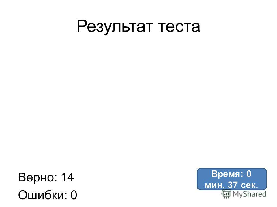 Результат теста Верно: 14 Ошибки: 0 Отметка: 5 Время: 0 мин. 37 сек.