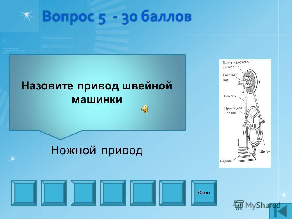 Вопрос 5 - 30 баллов Назовите привод швейной машинки Стоп Ножной привод