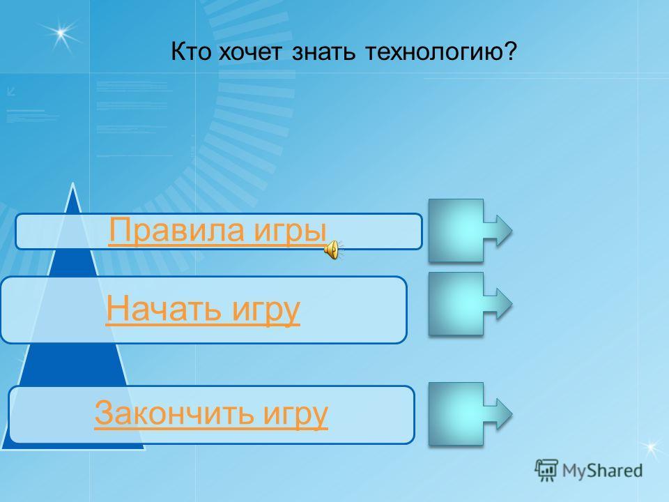 Правила игры Начать игру Закончить игру Кто хочет знать технологию?
