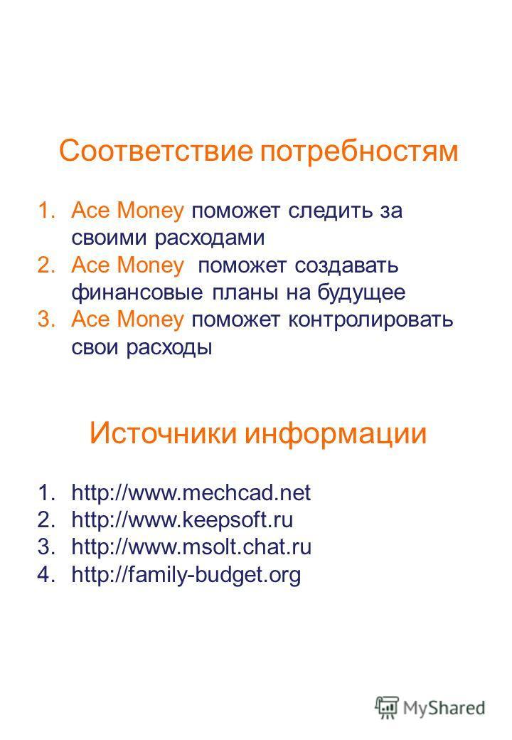 Соответствие потребностям 1.Ace Money поможет следить за своими расходами 2.Ace Money поможет создавать финансовые планы на будущее 3.Ace Money поможет контролировать свои расходы Источники информации 1.http://www.mechcad.net 2.http://www.keepsoft.ru