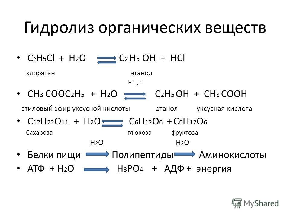 Гидролиз органических веществ C 2 H 5 Cl + H 2 O C 2 H 5 OH + HCl хлорэтан этанол H, t CH 3 COOC 2 H 5 + H 2 O C 2 H 5 OH + CH 3 COOH этиловый эфир уксусной кислоты этанол уксусная кислота С 12 H 22 O 11 + H 2 O C 6 H 12 O 6 + C 6 H 12 O 6 Сахароза г
