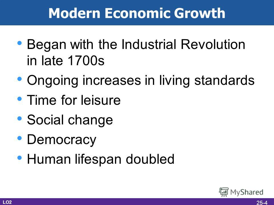 Modern Economic Growth Began with the Industrial Revolution in late 1700s Ongoing increases in living standards Time for leisure Social change Democracy Human lifespan doubled LO2 25-4