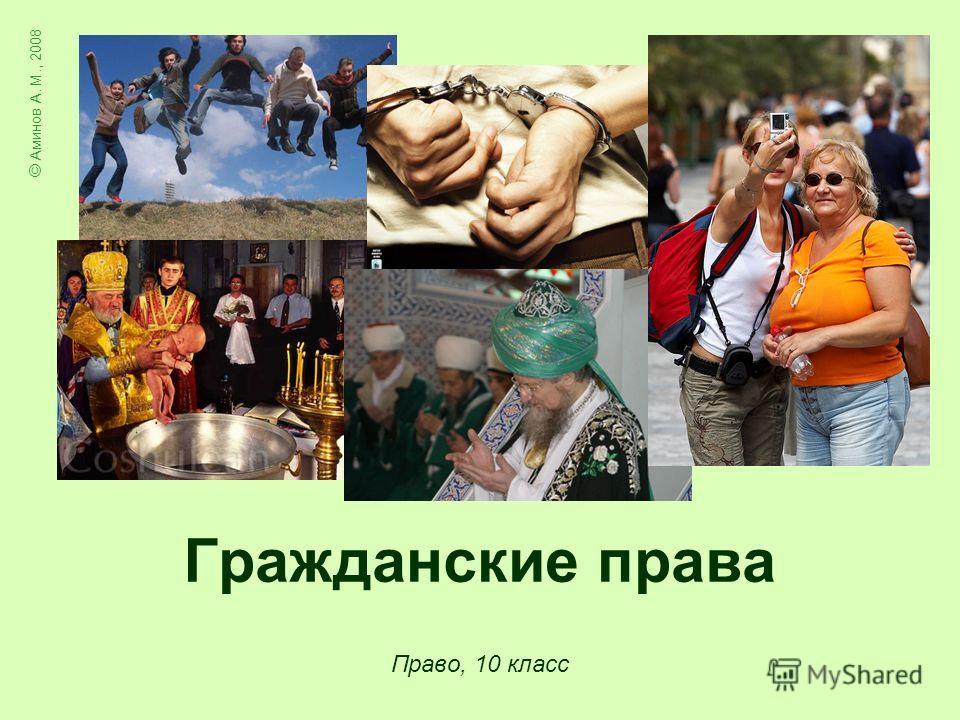 Право, 10 класс © Аминов А. М., 2008 Гражданские права