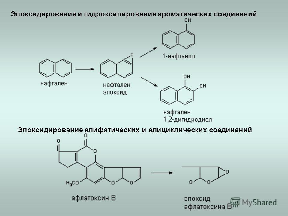 Эпоксидирование и гидроксилирование ароматических соединений Эпоксидирование алифатических и алициклических соединений