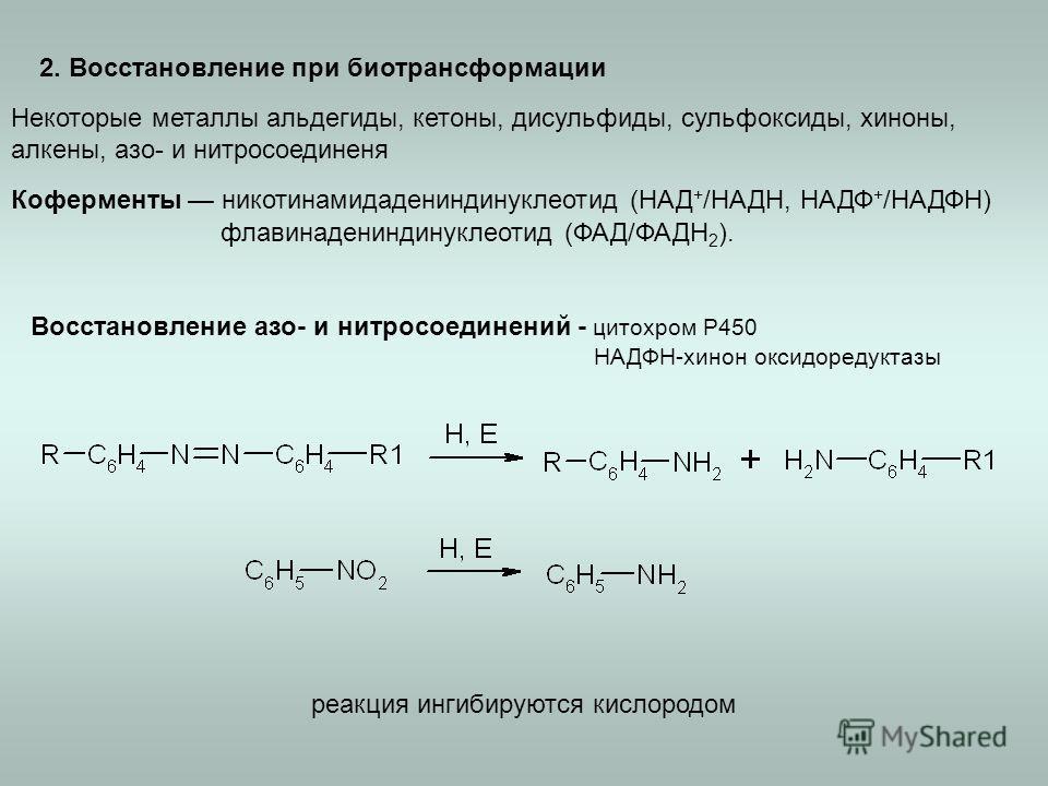 2. Восстановление при биотрансформации Некоторые металлы альдегиды, кетоны, дисульфиды, сульфоксиды, хиноны, алкены, азо- и нитросоединеня Коферменты никотинамидадениндинуклеотид (НАД + /НАДН, НАДФ + /НАДФН) флавинадениндинуклеотид (ФАД/ФАДН 2 ). Вос