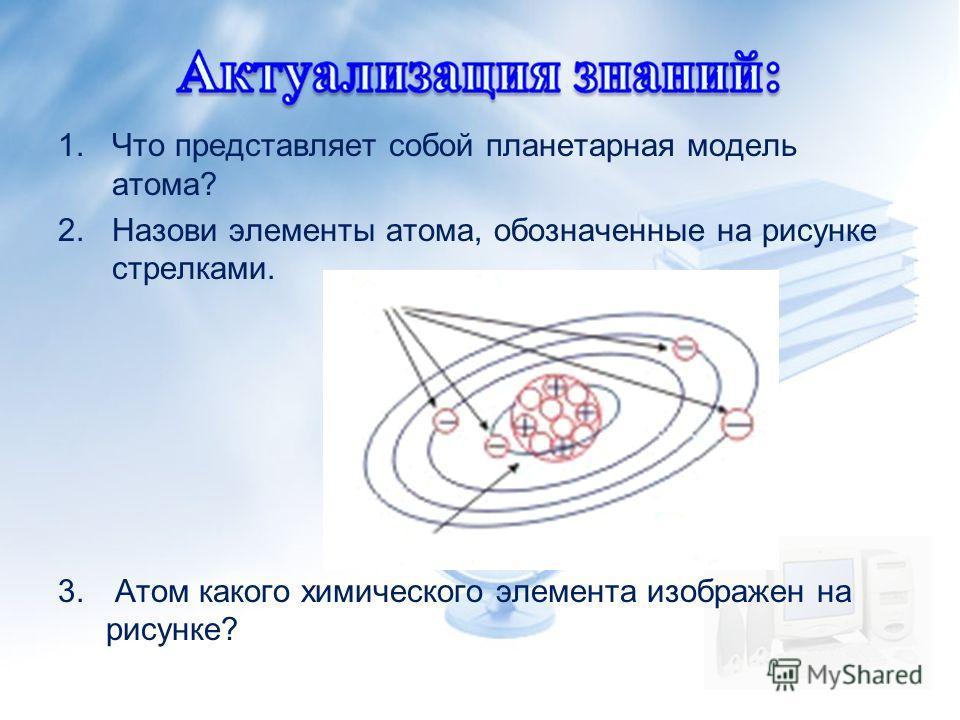 1.Что представляет собой планетарная модель атома? 2.Назови элементы атома, обозначенные на рисунке стрелками. 3. Атом какого химического элемента изображен на рисунке?
