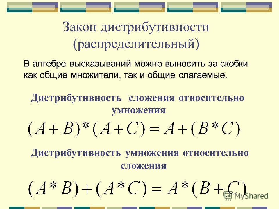 Закон дистрибутивности (распределительный) Дистрибутивность сложения относительно умножения Дистрибутивность умножения относительно сложения В алгебре высказываний можно выносить за скобки как общие множители, так и общие слагаемые.