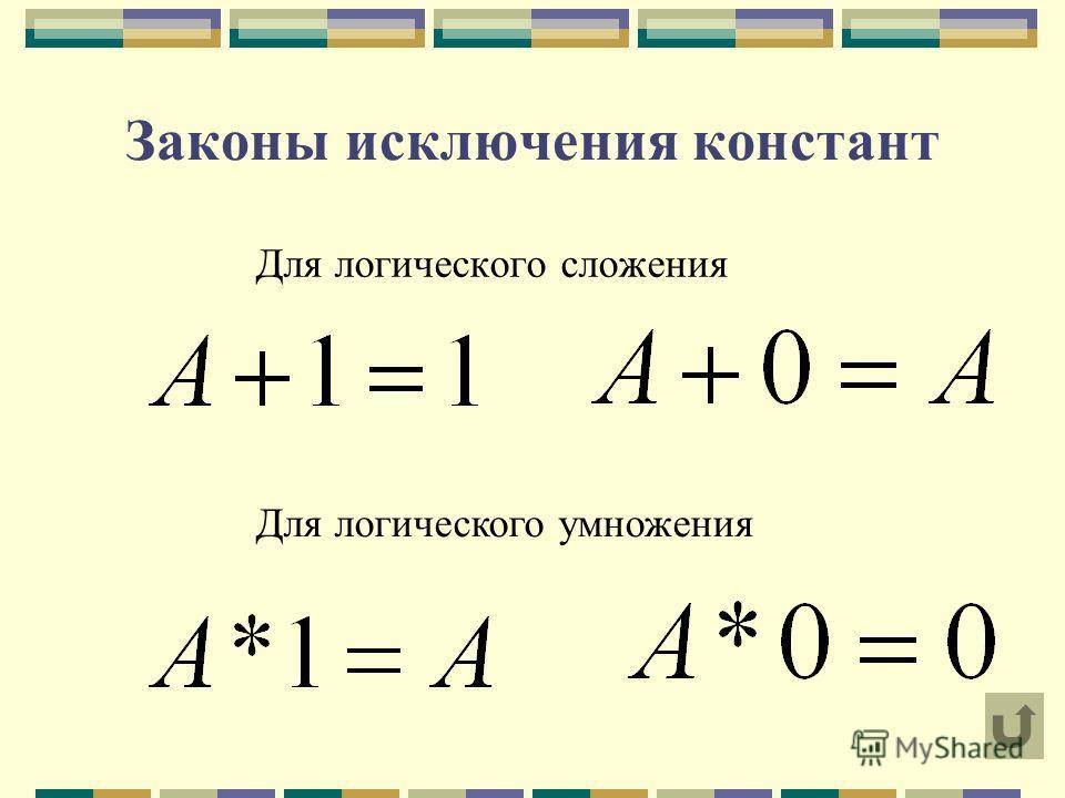 Законы исключения констант Для логического сложения Для логического умножения