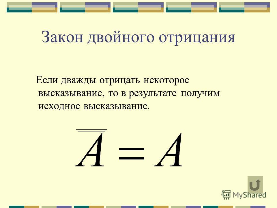 Закон двойного отрицания Если дважды отрицать некоторое высказывание, то в результате получим исходное высказывание.