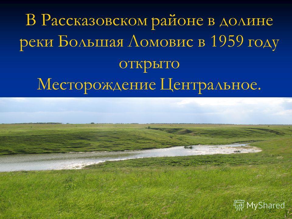 В Рассказовском районе в долине реки Большая Ломовис в 1959 году открыто Месторождение Центральное.