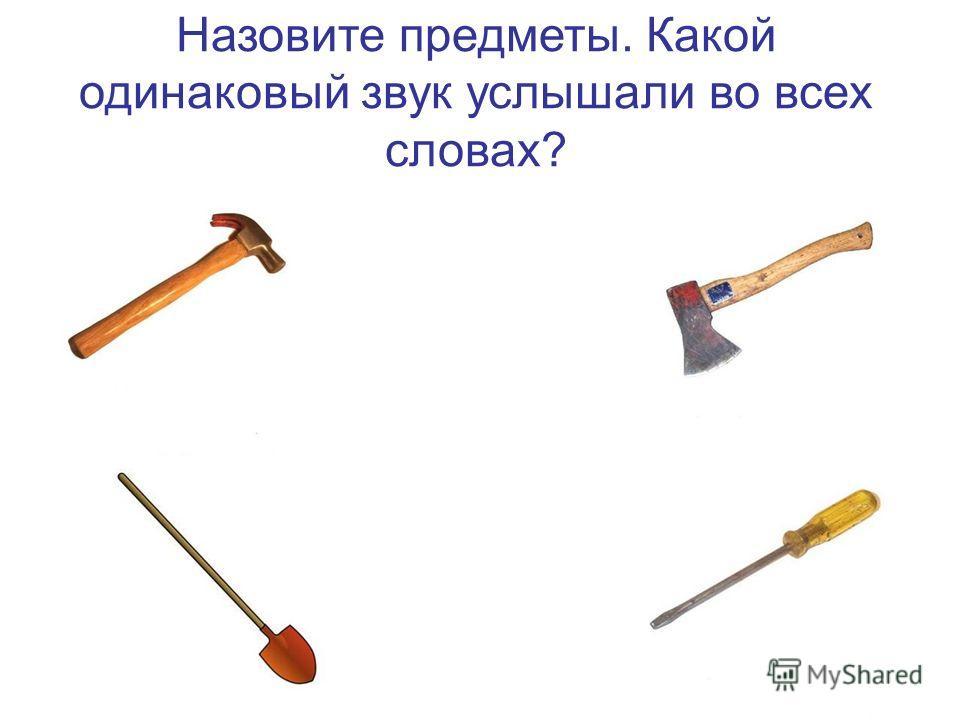 Назовите предметы. Какой одинаковый звук услышали во всех словах?