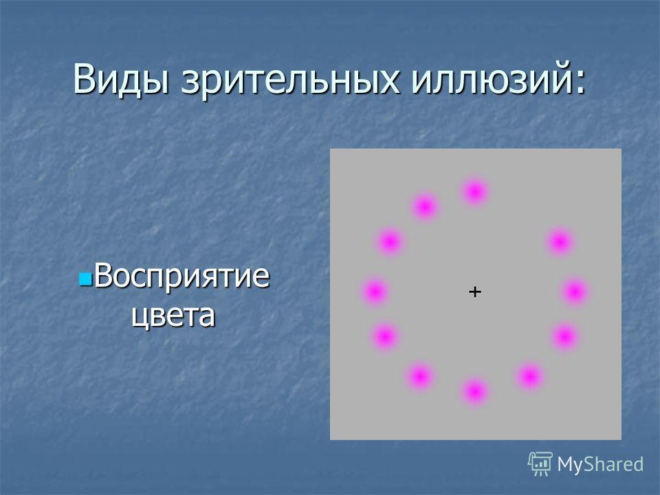 Виды зрительных иллюзий: Восприятие цвета Восприятие цвета