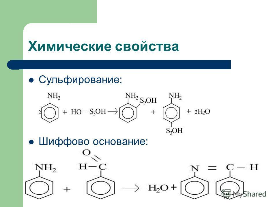 Химические свойства Сульфирование: Шиффово основание: +