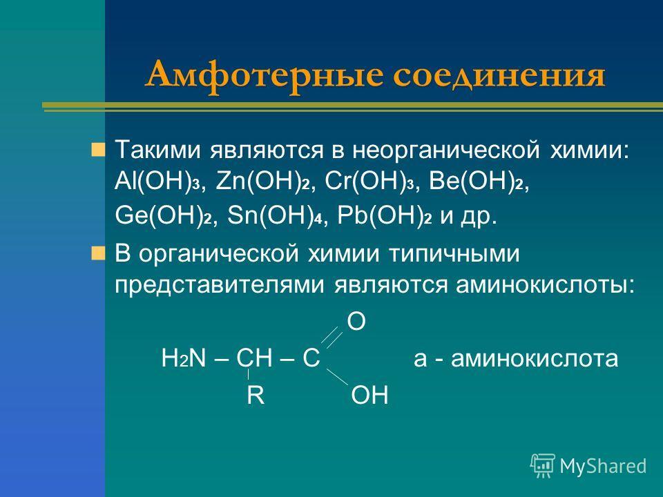 Амфотерные соединения Такими являются в неорганической химии: Аl(ОН) 3, Zn(ОН) 2, Cr(ОН) 3, Ве(ОН) 2, Gе(ОН) 2, Sn(ОН) 4, Pb(ОН) 2 и др. В органической химии типичными представителями являются аминокислоты: O H 2 N – CH – C a - аминокислота R OH