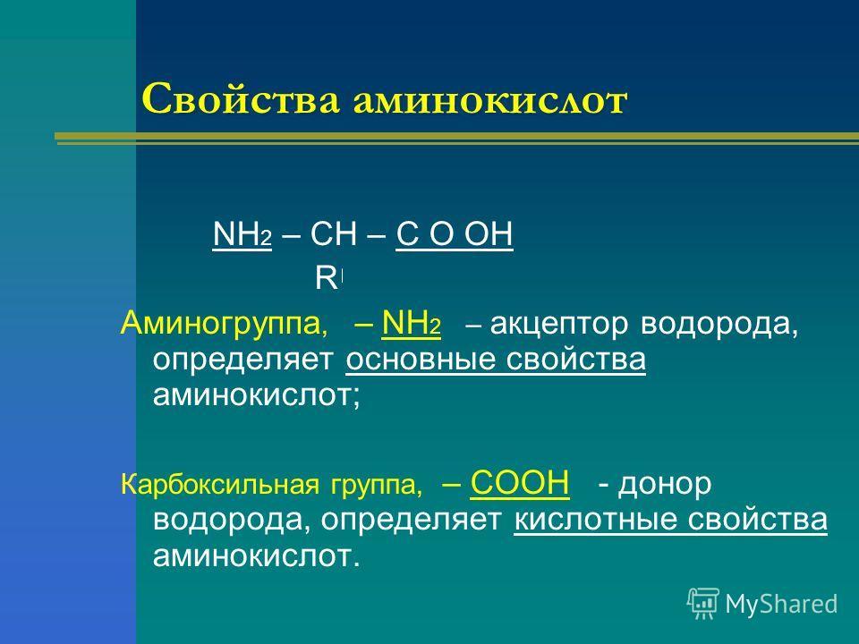 Свойства аминокислот NH 2 – CH – C O OH R Аминогруппа, – NH 2 – акцептор водорода, определяет основные свойства аминокислот; Карбоксильная группа, – COOH - донор водорода, определяет кислотные свойства аминокислот.
