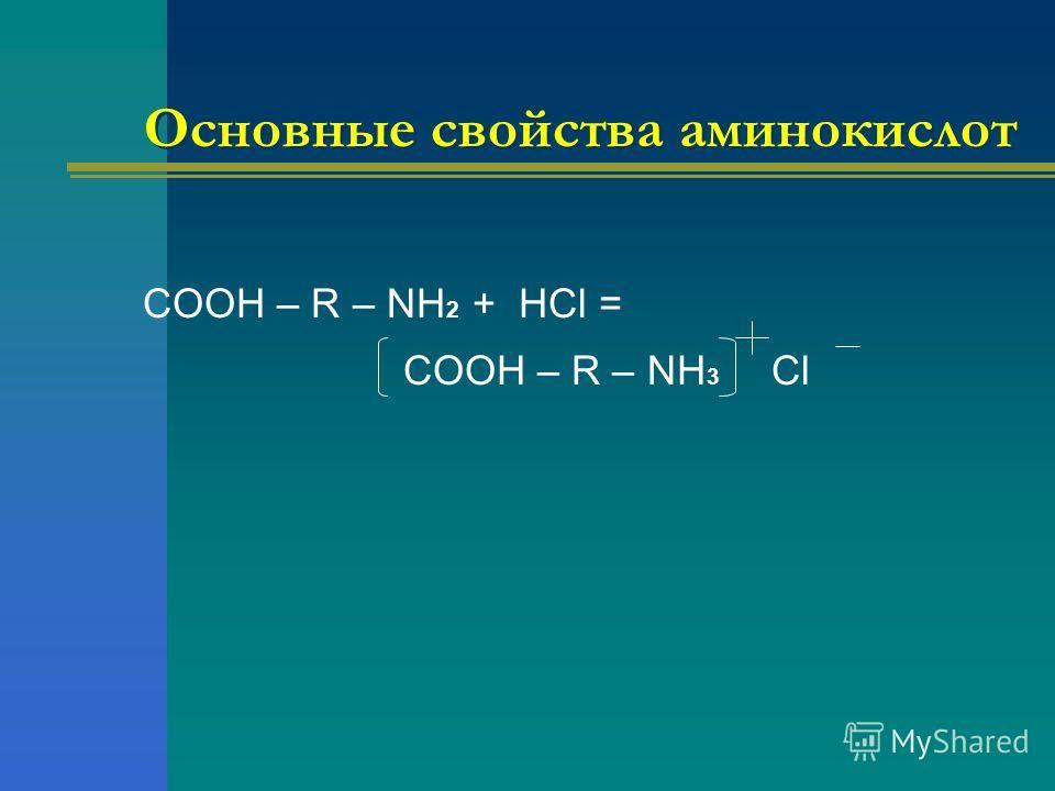 Основные свойства аминокислот COOH – R – NH 2 + HCl = COOH – R – NH 3 Cl