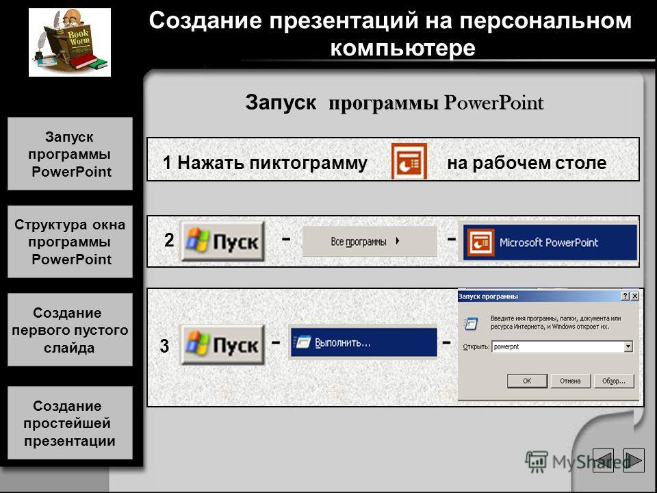 Создание презентаций на персональном компьютере 1 Нажать пиктограмму на рабочем столе 2 - - 3 - - программы PowerPoint Запуск программы PowerPoint Запуск программы PowerPoint Запуск программы PowerPoint Структура окна программы PowerPoint Структура о