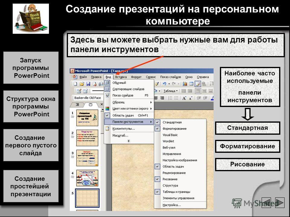 Здесь вы можете выбрать нужные вам для работы панели инструментов Стандартная Форматирование Рисование Наиболее часто используемые панели инструментов Создание презентаций на персональном компьютере Запуск программы PowerPoint Запуск программы PowerP