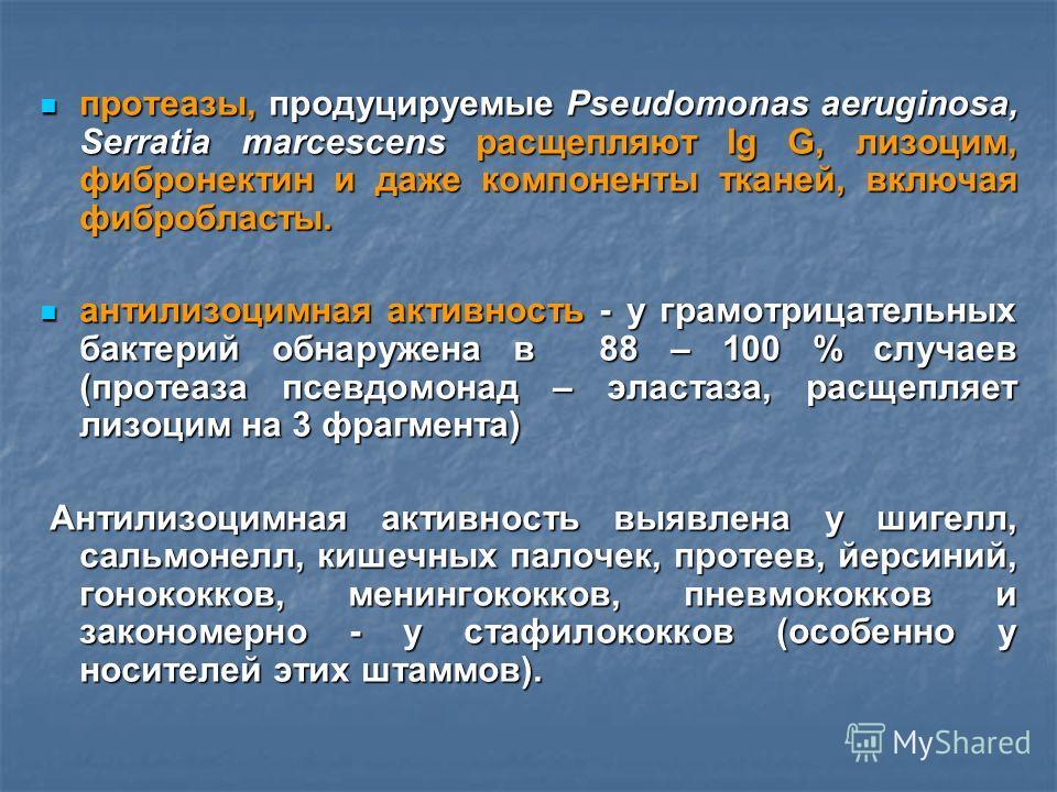 протеазы, продуцируемые Pseudomonas aeruginosa, Serratia marcescens расщепляют Ig G, лизоцим, фибронектин и даже компоненты тканей, включая фибробласты. протеазы, продуцируемые Pseudomonas aeruginosa, Serratia marcescens расщепляют Ig G, лизоцим, фиб
