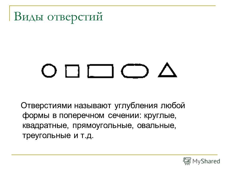 Виды отверстий Отверстиями называют углубления любой формы в поперечном сечении: круглые, квадратные, прямоугольные, овальные, треугольные и т.д.