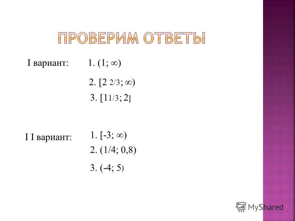I вариант: 1. (1; ) 2. 2 2/3 ; ) 3. 1 1/3 ; 2 I I вариант: 1. -3; ) 2. (1/4; 0,8) 3. (-4; 5 )