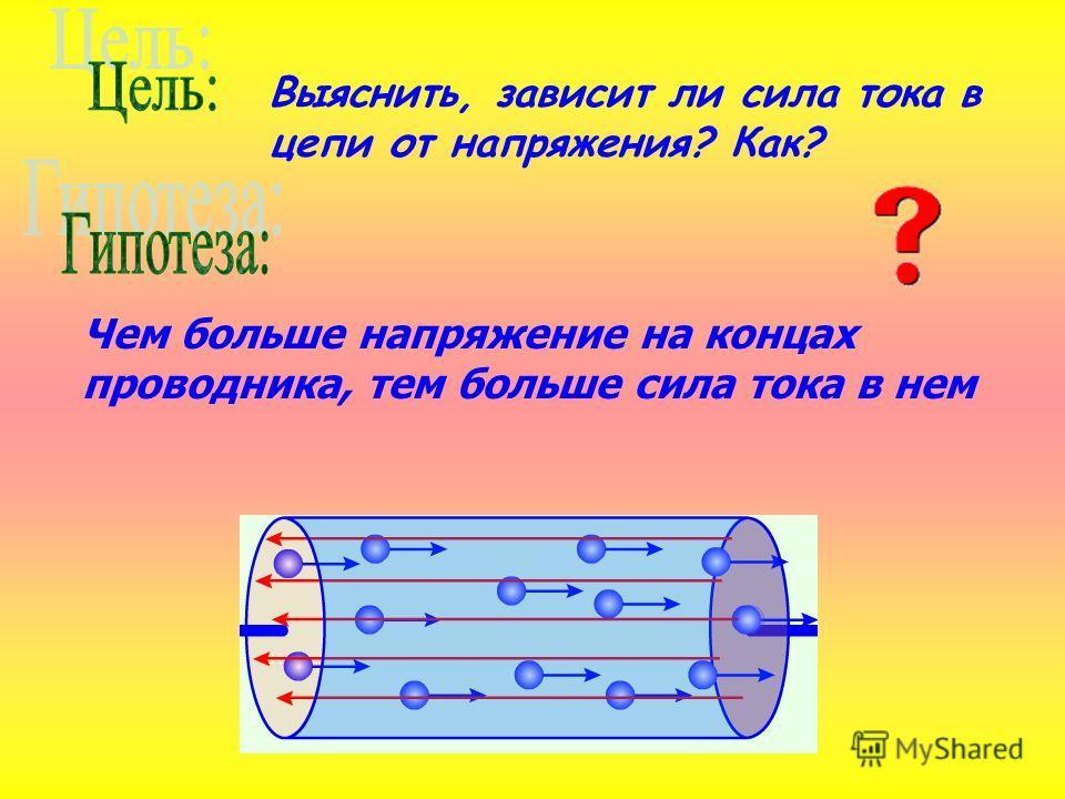 Выяснить, зависит ли сила тока в цепи от напряжения? Как? Чем больше напряжение на концах проводника, тем больше сила тока в нем