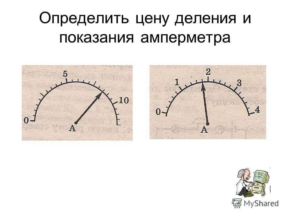 Определить цену деления и показания амперметра