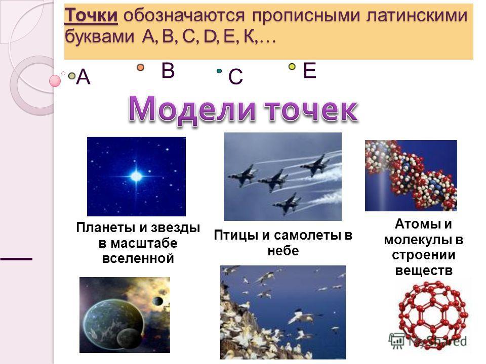 А В С Е Точки обозначаются прописными латинскими буквами А, В, С, D, Е, К,… Планеты и звезды в масштабе вселенной Птицы и самолеты в небе Атомы и молекулы в строении веществ