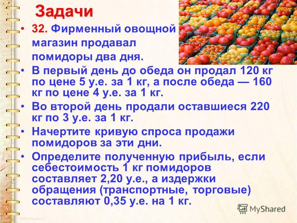 Задачи 32. Фирменный овощной магазин продавал помидоры два дня. В первый день до обеда он продал 120 кг по цене 5 у.е. за 1 кг, а после обеда 160 кг по цене 4 у.е. за 1 кг. Во второй день продали оставшиеся 220 кг по 3 у.е. за 1 кг. Начертите кривую