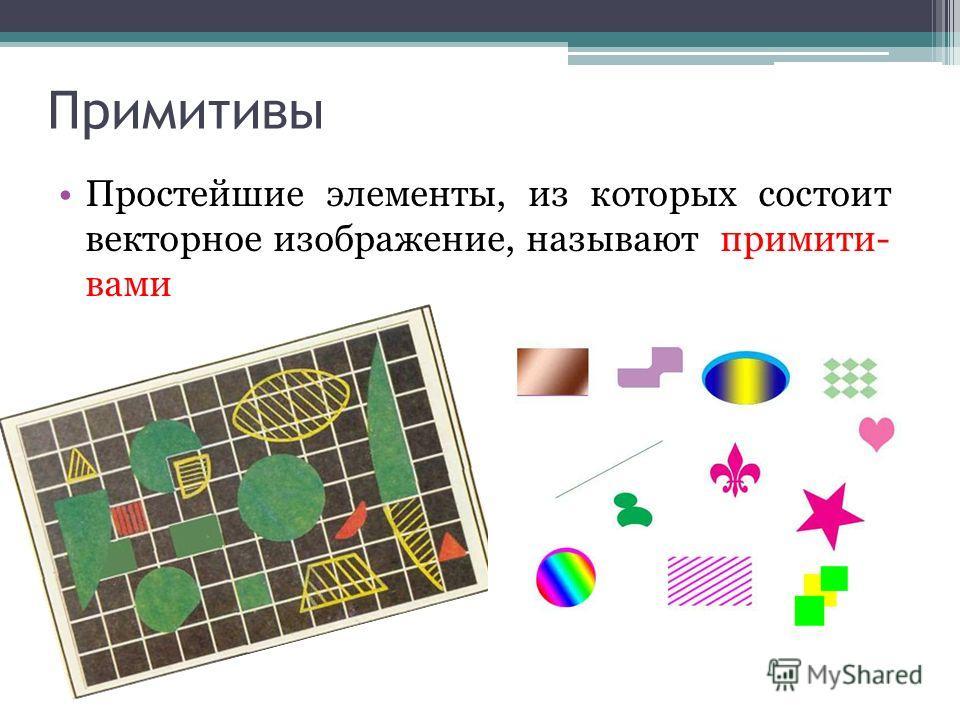 Примитивы Простейшие элементы, из которых состоит векторное изображение, называют примити- вами