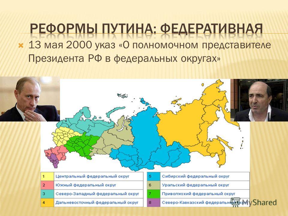 13 мая 2000 указ «О полномочном представителе Президента РФ в федеральных округах»