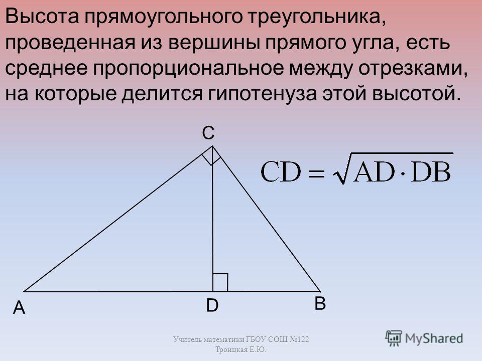 Учитель математики ГБОУ СОШ 122 Троицкая Е.Ю. B C A D Высота прямоугольного треугольника, проведенная из вершины прямого угла, есть среднее пропорциональное между отрезками, на которые делится гипотенуза этой высотой.