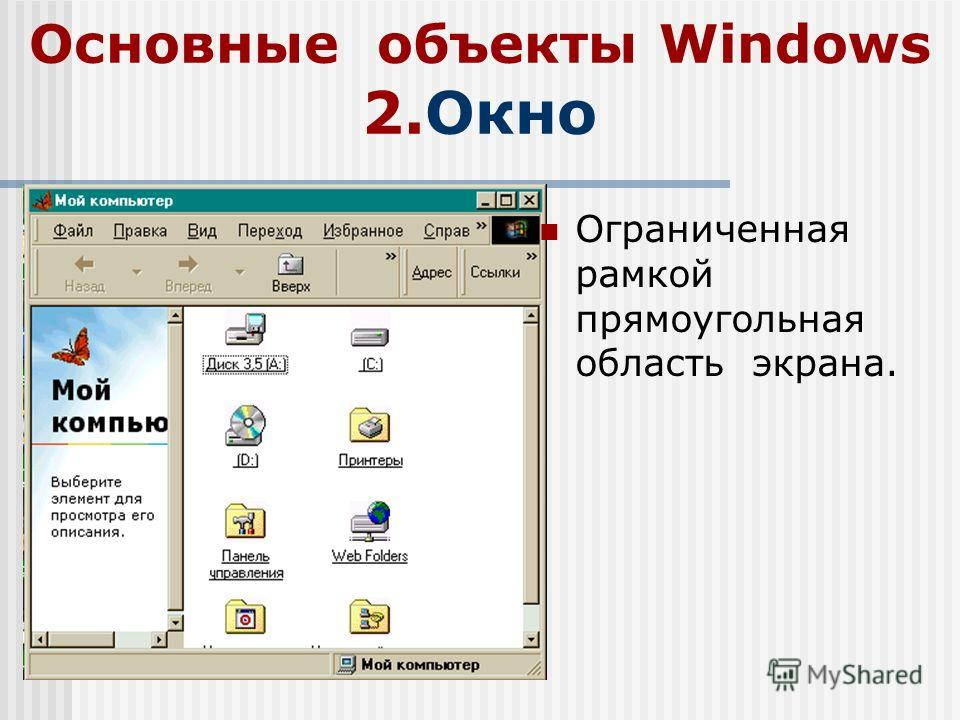 Основные объекты Windows 2.Окно Ограниченная рамкой прямоугольная область экрана.