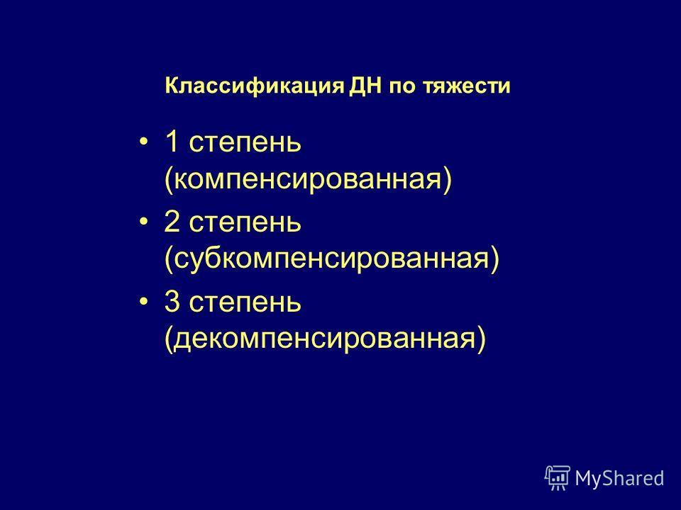 Классификация ДН по тяжести 1 степень (компенсированная) 2 степень (субкомпенсированная) 3 степень (декомпенсированная)