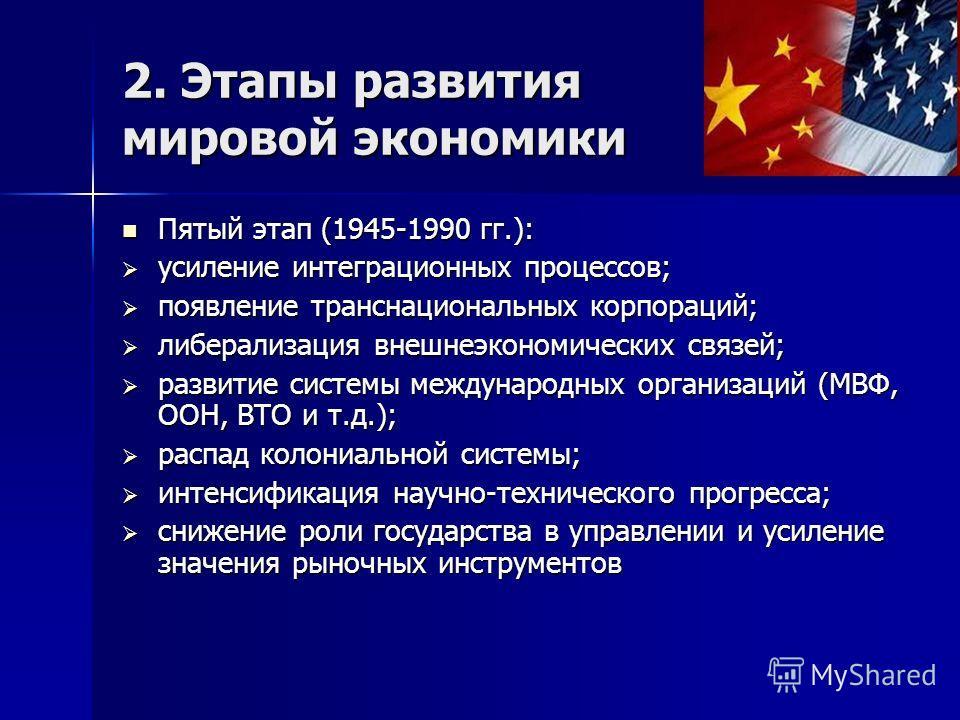 2. Этапы развития мировой экономики Пятый этап (1945-1990 гг.): Пятый этап (1945-1990 гг.): усиление интеграционных процессов; усиление интеграционных процессов; появление транснациональных корпораций; появление транснациональных корпораций; либерали