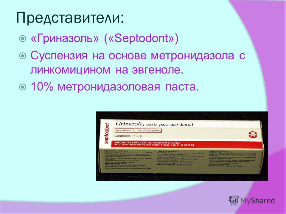 Представители: «Гриназоль» («Septodont») Суспензия на основе метронидазола с линкомицином на эвгеноле. 10% метронидазоловая паста.