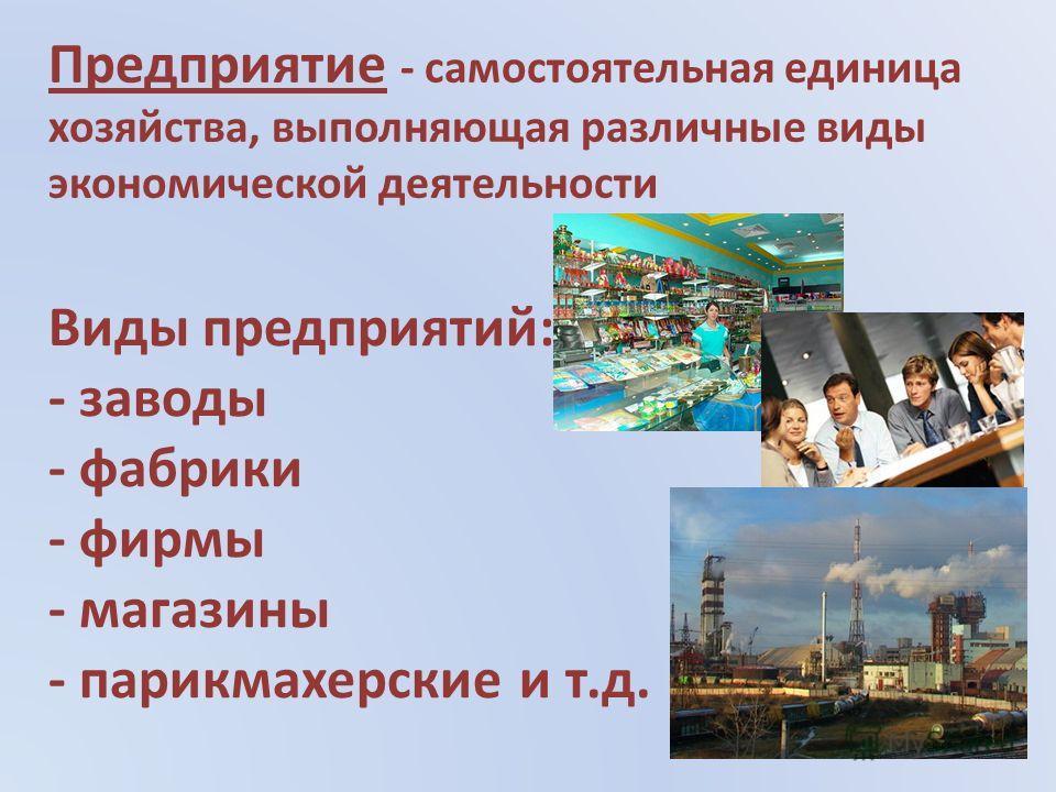 Виды предприятий: - заводы - фабрики - фирмы - магазины - парикмахерские и т.д. Предприятие - самостоятельная единица хозяйства, выполняющая различные виды экономической деятельности