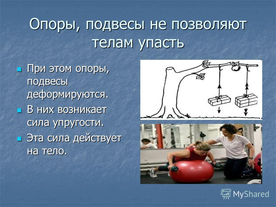 Опоры, подвесы не позволяют телам упасть При этом опоры, подвесы деформируются. При этом опоры, подвесы деформируются. В них возникает сила упругости. В них возникает сила упругости. Эта сила действует на тело. Эта сила действует на тело.