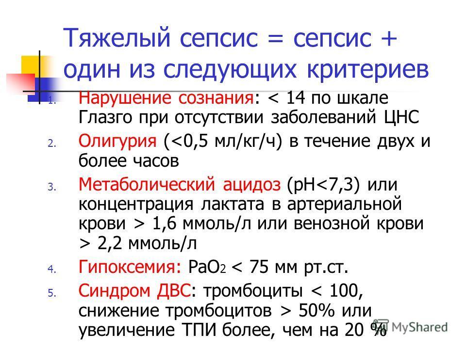 Тяжелый сепсис = сепсис + один из следующих критериев 1. Нарушение сознания: < 14 по шкале Глазго при отсутствии заболеваний ЦНС 2. Олигурия ( 2,2 ммоль/л 4. Гипоксемия: РаО 2 < 75 мм рт.ст. 5. Синдром ДВС: тромбоциты 50% или увеличение ТПИ более, че