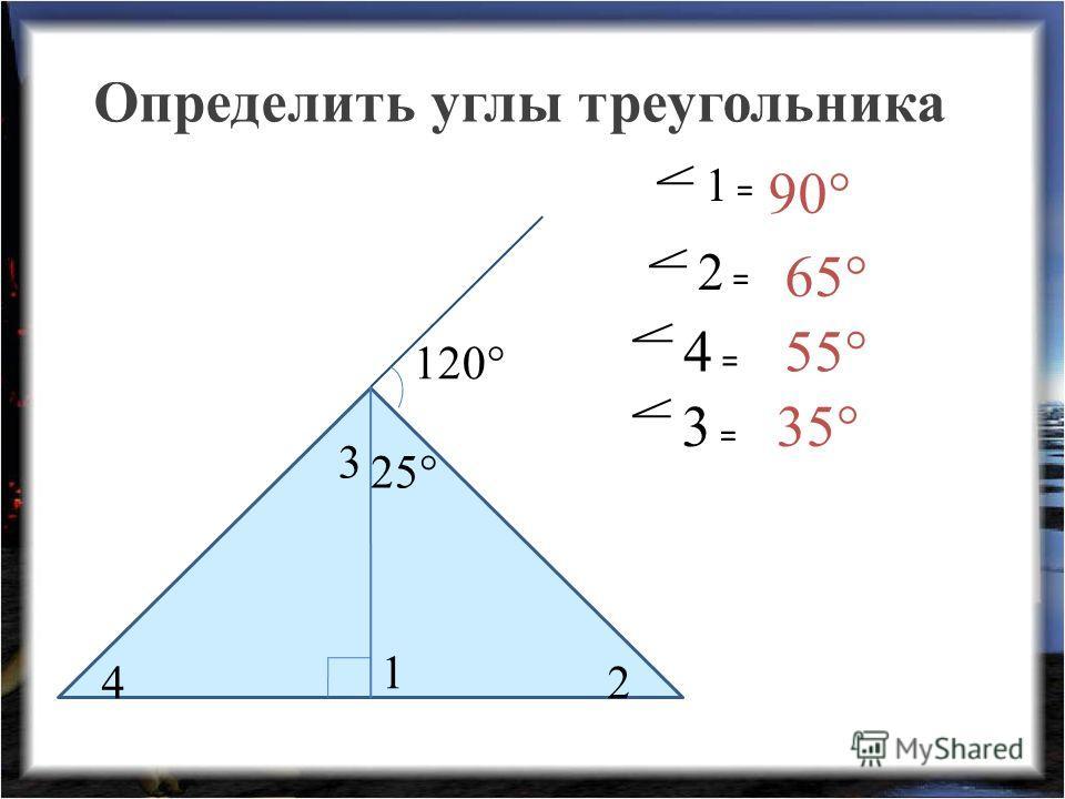 Определить углы треугольника 1 2 25° 120° 3 4 4 = 2 = 3 = 1 = 90° 65° 55° 35°
