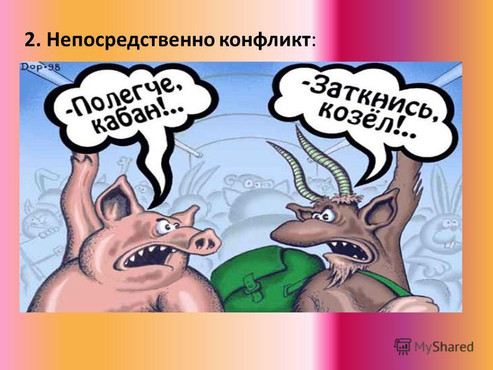 2. Непосредственно конфликт: А) Недоверие и отсутствие уважения к противнику; Б) Невозможность достичь согласия; В) Наличие открытых и скрытых действий, направленных на изменение поведения соперников.