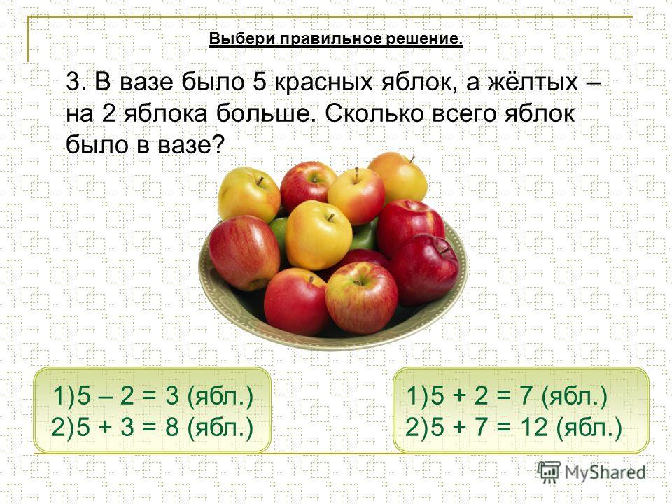 3. В вазе было 5 красных яблок, а жёлтых – на 2 яблока больше. Сколько всего яблок было в вазе? 1)5 + 2 = 7 (ябл.)5 + 2 = 7 (ябл.) 2)5 + 7 = 12 (ябл.)5 + 7 = 12 (ябл.) 1)5 – 2 = 3 (ябл.)5 – 2 = 3 (ябл.) 2)5 + 3 = 8 (ябл.)5 + 3 = 8 (ябл.) Выбери прави