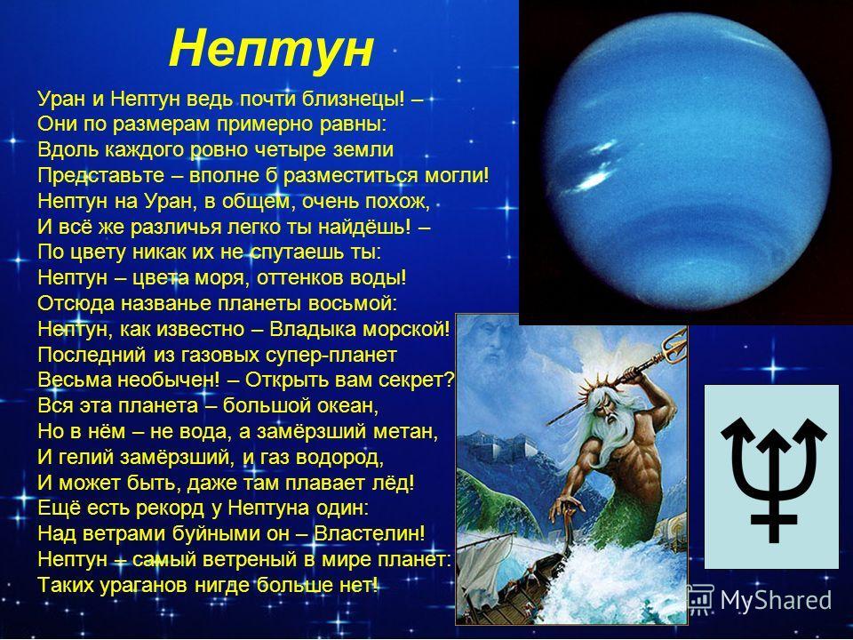 Нептун Уран и Нептун ведь почти близнецы! – Они по размерам примерно равны: Вдоль каждого ровно четыре земли Представьте – вполне б разместиться могли! Нептун на Уран, в общем, очень похож, И всё же различья легко ты найдёшь! – По цвету никак их не с