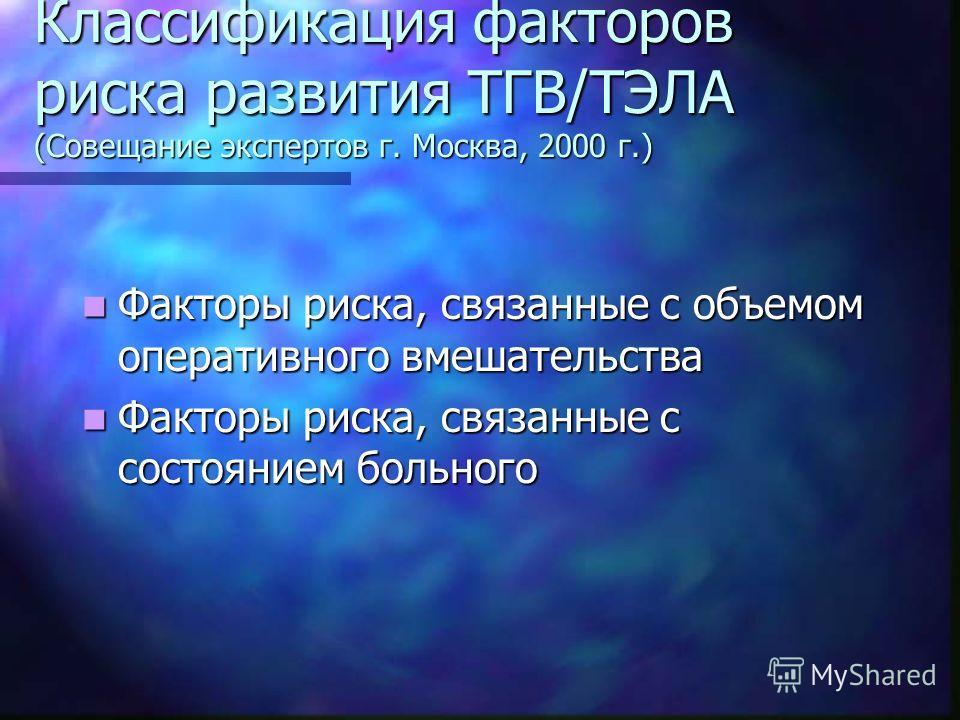 Классификация факторов риска развития ТГВ/ТЭЛА (Совещание экспертов г. Москва, 2000 г.) Факторы риска, связанные с объемом оперативного вмешательства Факторы риска, связанные с объемом оперативного вмешательства Факторы риска, связанные с состоянием