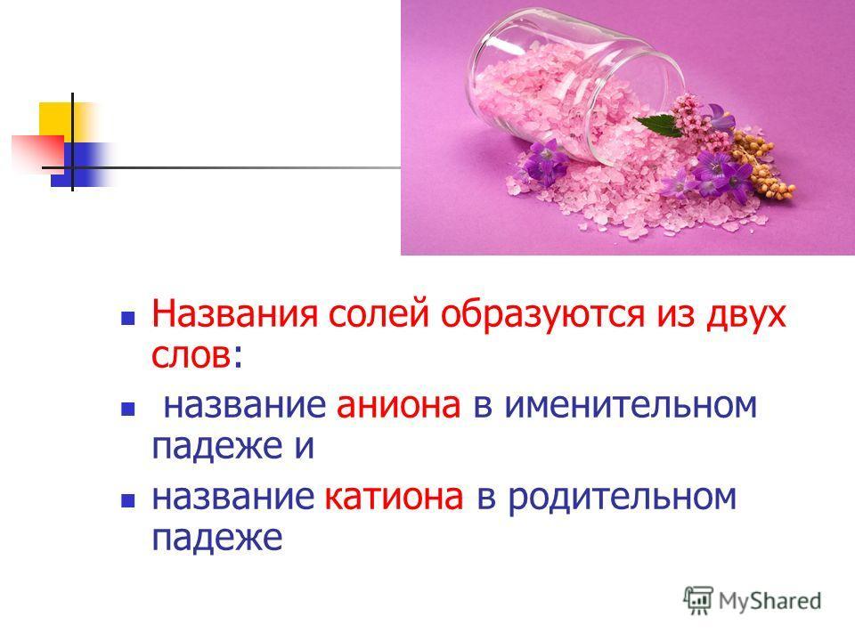 Названия солей образуются из двух слов: название аниона в именительном падеже и название катиона в родительном падеже