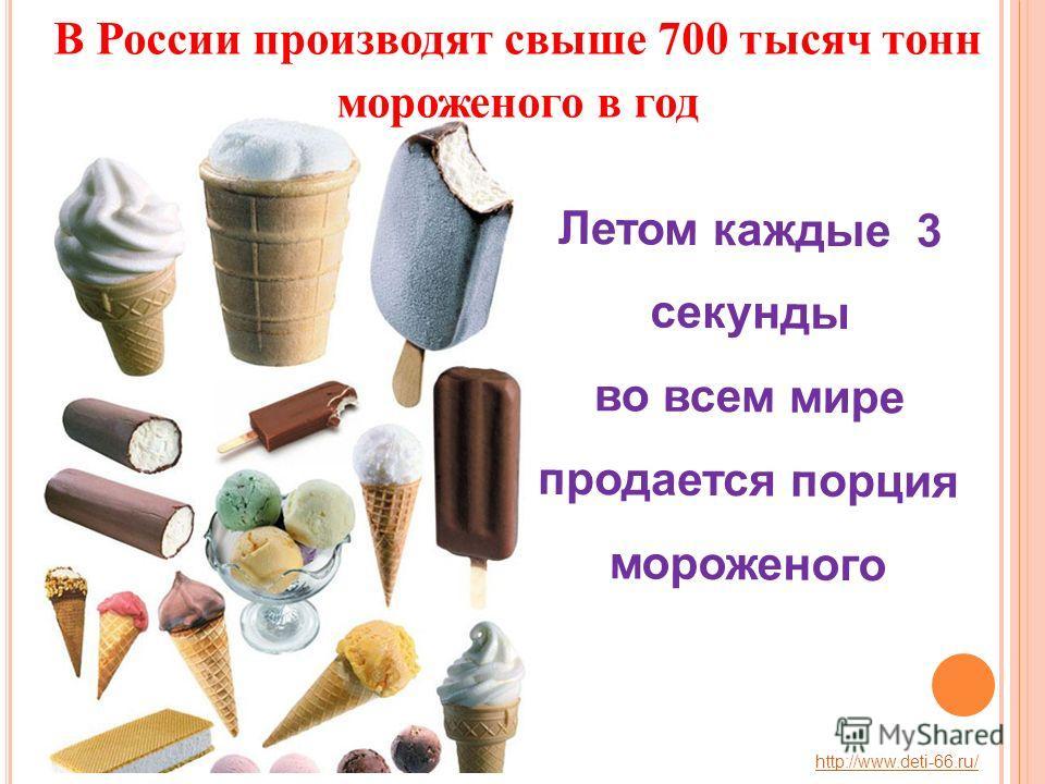 Летом каждые 3 секунды во всем мире продается порция мороженого В России производят свыше 700 тысяч тонн мороженого в год http://www.deti-66.ru/