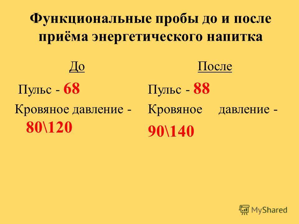 Функциональные пробы до и после приёма энергетического напитка До Пульс - 68 Кровяное давление - 80\120 После Пульс - 88 Кровяное давление - 90\140