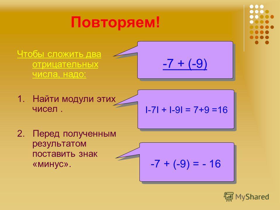 Повторяем! Чтобы сложить два отрицательных числа, надо: 1. Найти модули этих чисел. 2. Перед полученным результатом поставить знак «минус». -7 + (-9) I-7I + I-9I = 7+9 =16 -7 + (-9) = - 16 -7 + (-9) = - 16