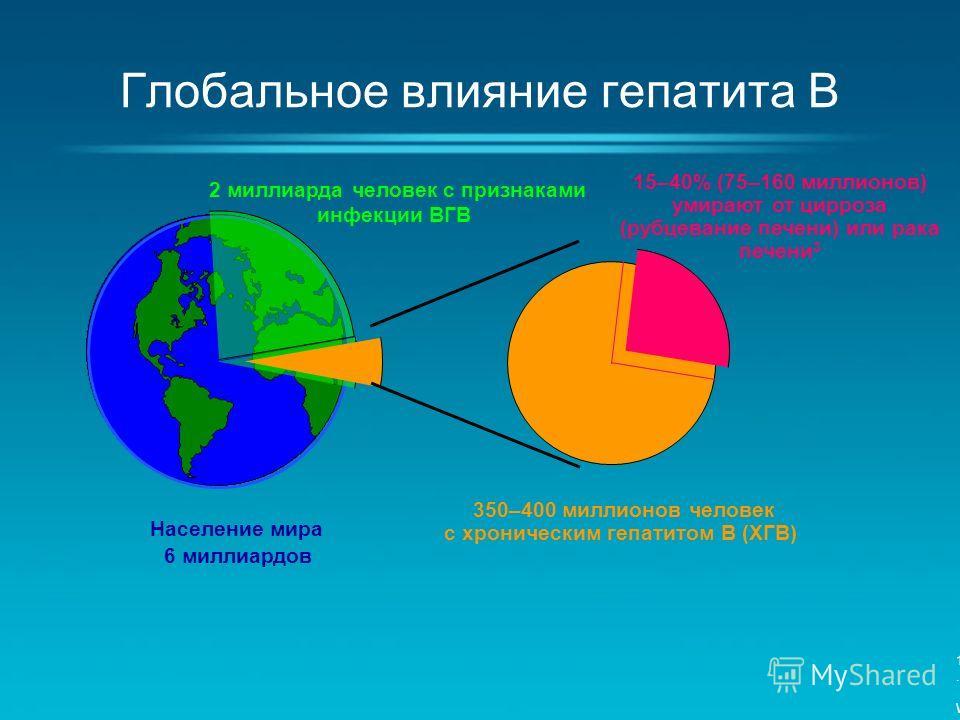Глобальное влияние гепатита B Население мира 6 миллиардов 2 миллиарда человек с признаками инфекции ВГВ 350–400 миллионов человек с хроническим гепатитом B (ХГВ) 15–40% (75–160 миллионов) умирают от цирроза (рубцевание печени) или рака печени 3 1. Wo